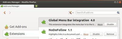 disable global menu in firefox