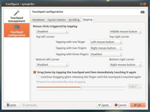 synaptiks touchpad tap configurations tool