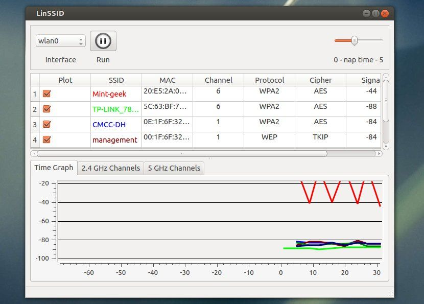 LinSSID: Graphical Wifi Scanner for Ubuntu and Linux Mint