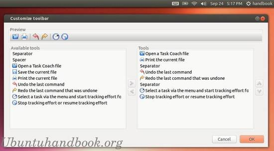 task coach customize toolbar