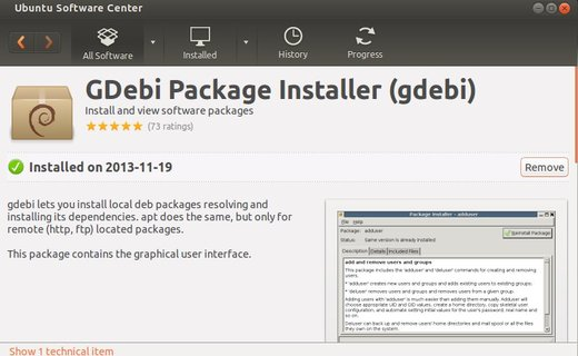 Gdebi DEB installer in Ubuntu