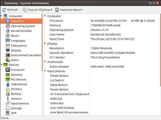 hardinfo ubuntu information