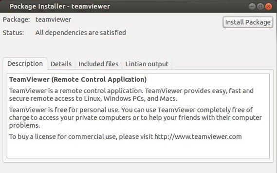 install teamview via gdebi