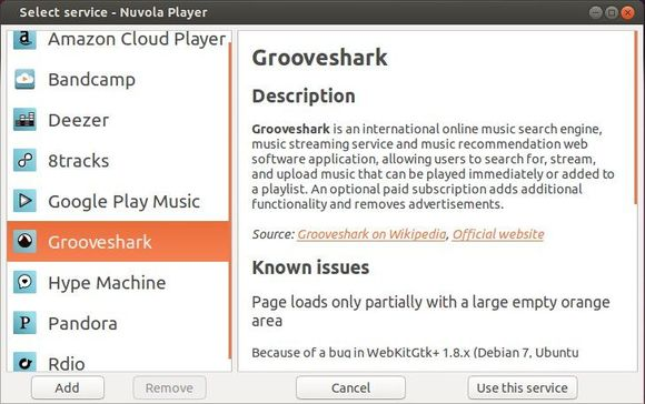 Nuvola Player supported Cloud Music services