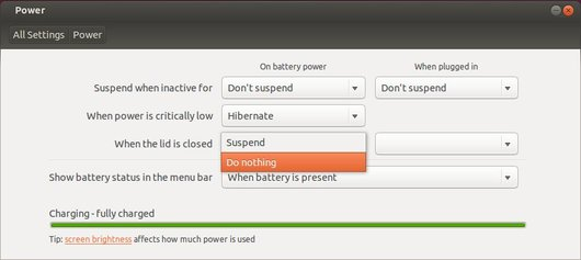 ubuntu lid closed setting