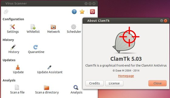 ClamTK 5.03 in Ubuntu