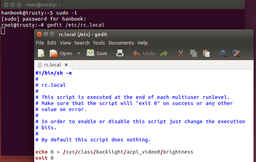 save screen brightness ubuntu 14.04