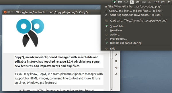 CopyQ clipboard manager ubuntu 14.04