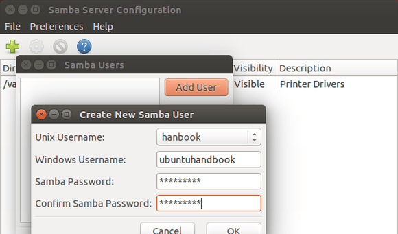 Samba User Settings