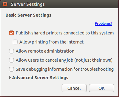 share printer ubuntu 14.04