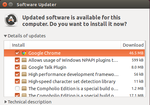 Firefox in software updater