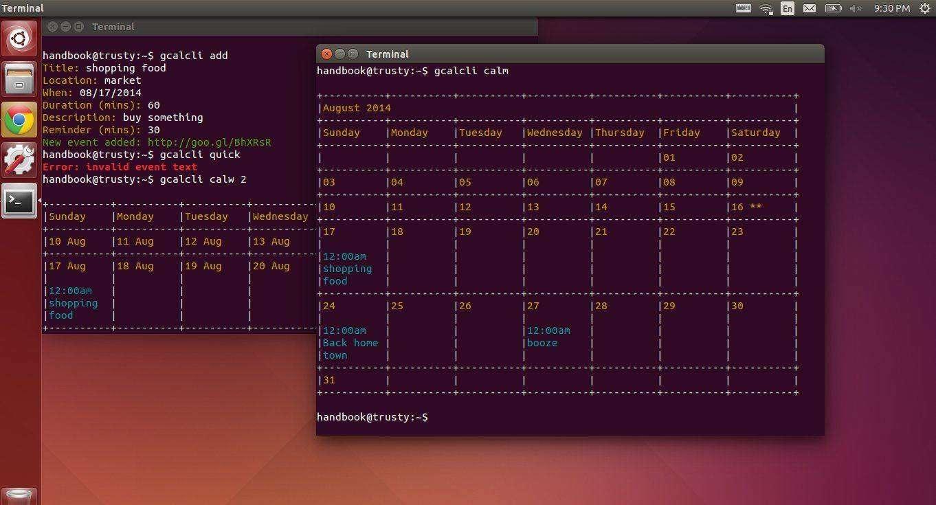 Gcalcli – Google Calendar in Command Line /Desktop Widget
