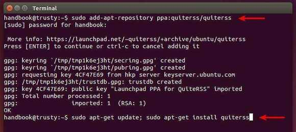 install-quiterss-from-ppa