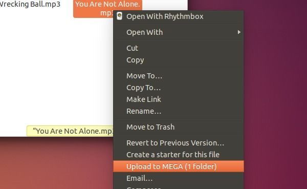 Upload to MEGA via Context Menu