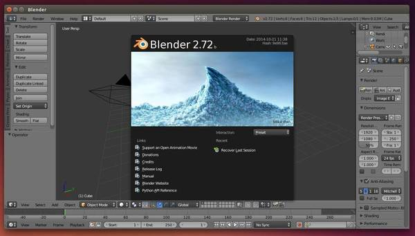 Blender 2.72b in Ubuntu 14.10