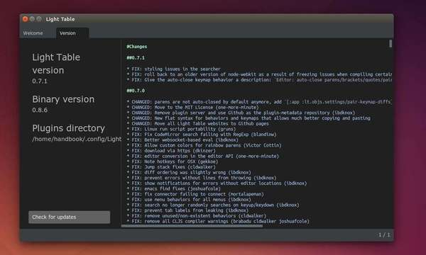 Light Table 0.7.1 in Ubuntu 14.10