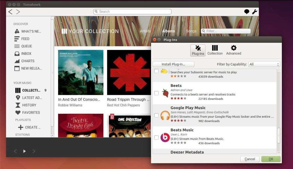 Tomahawk Music Player 0.8 in Ubuntu