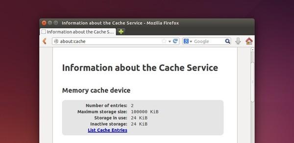 Firefox Cache Information