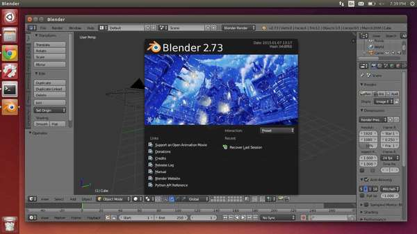Blender 2.73 in Ubuntu 14.04