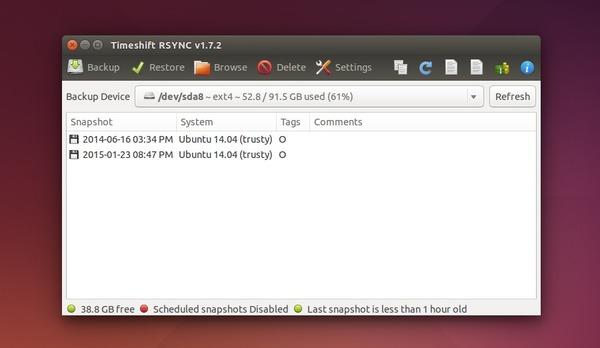 System Restore App TimeShift 1.7