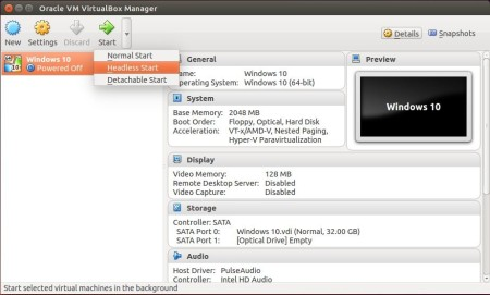 virtualbox 5 separate start