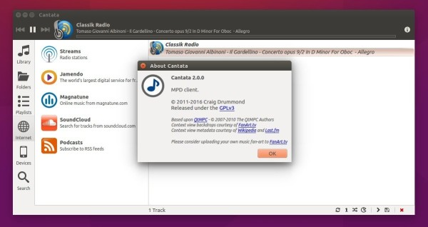 Cantata 2.0 in Ubuntu 15.10