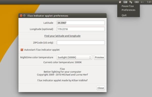 F.lux indicator in Ubuntu