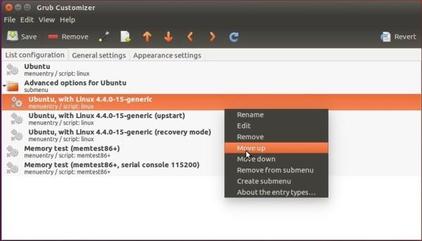 Grub Customizer, edit menu entries