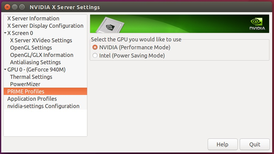 Switch Between Intel and Nvidia Graphics Card in Ubuntu 16 04