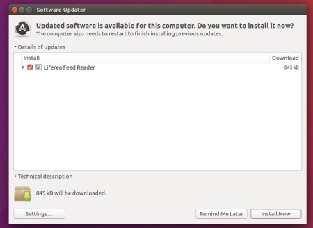 upgrade Liferea via Software Updater