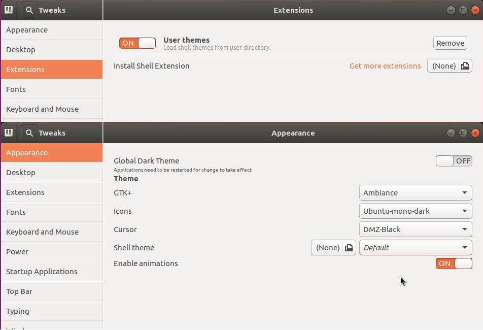 Enable 'Shell theme' in Gnome Tweak Tool in Ubuntu