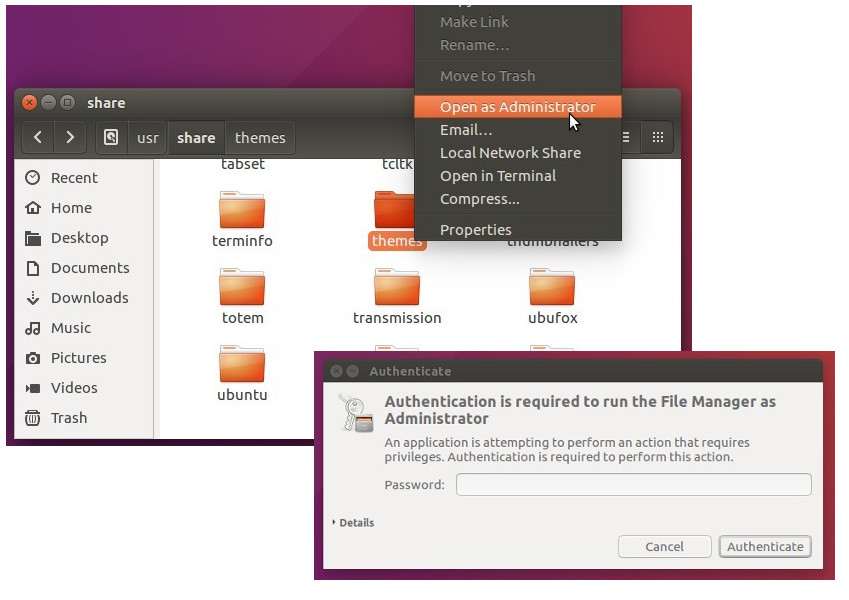 "Enable ""Open as Admin"" in Nautilus File Browser 
