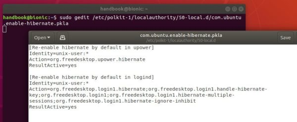Add 'Hibernate' Option in Power Menu in Ubuntu 18 04