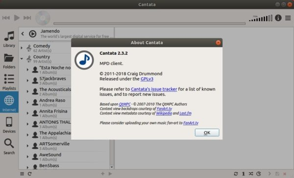 Cantata 2 3 2 Available in PPA for Ubuntu 18 04, 16 04