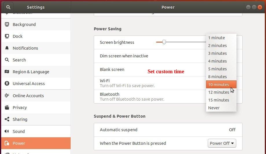 How to Set Custom Blank Screen / Lock Screen Time in Ubuntu