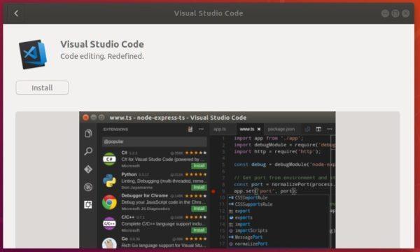 Install Visual Studio Code via Official Snap in Ubuntu 18 04